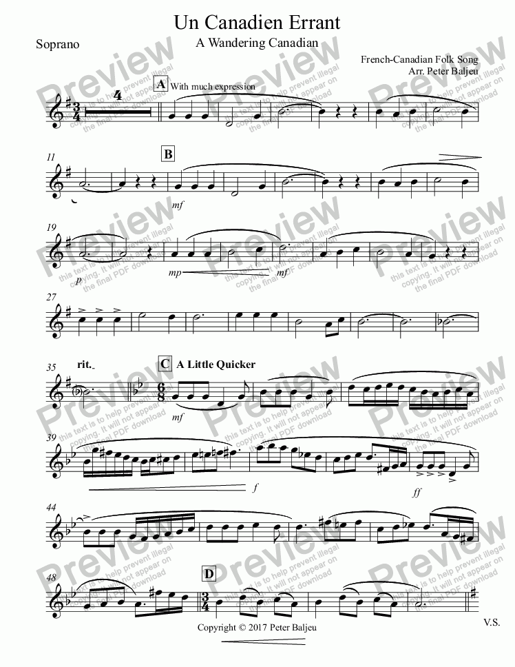 page one of the Soprano part from Un Canadien Errant for Recorders