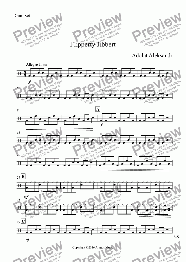 page one of the Drum Set part from Flipperty Jibbert