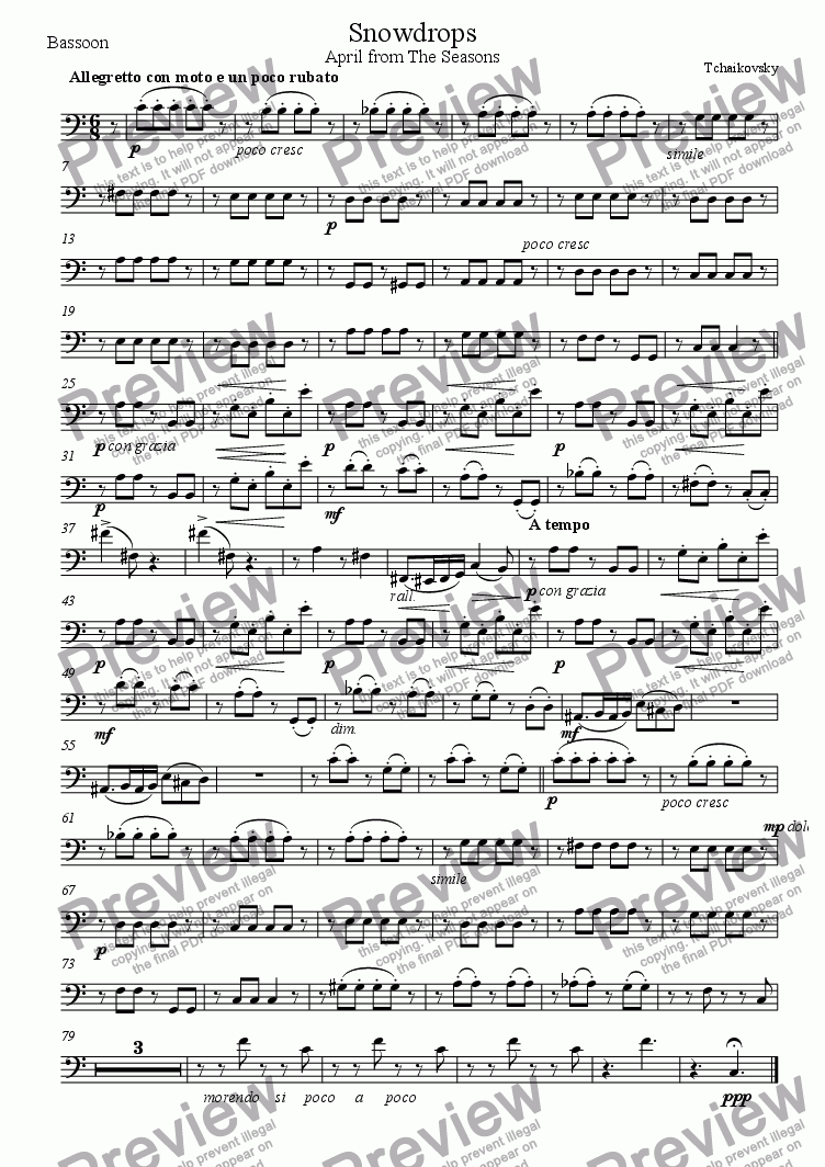 page one of the Bassoon part from Snowdrops