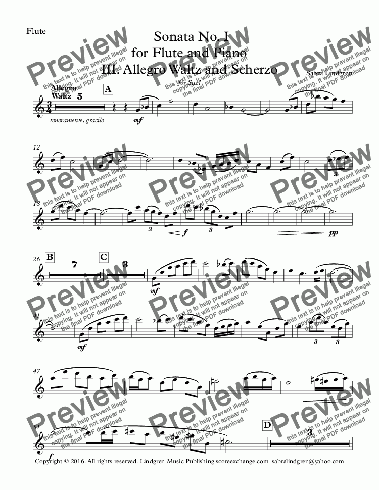 page one of the Flute part from Sonata No. I for Flute and Piano III. Allegro Waltz and Scherzo