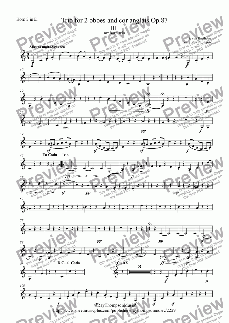 page one of the Horn 3 in E^b part from Beethoven: Trio for 2 oboes and cor anglais Op.87 Mvt.3 - horn trio