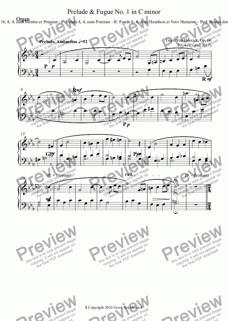 page one of the Organ part from Three Preludes and Fugues for organ, Op. 66 - No. 1 in C minor