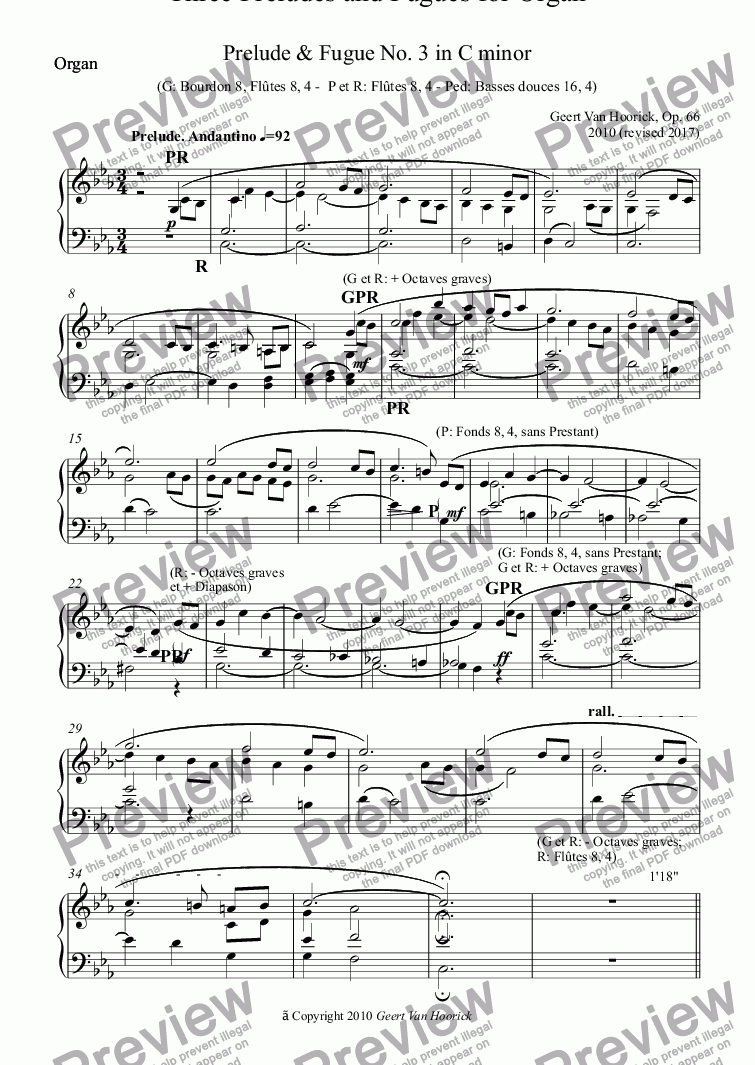 page one of the Organ part from Three Preludes and Fugues for organ, Op. 66 - No. 3 in C minor