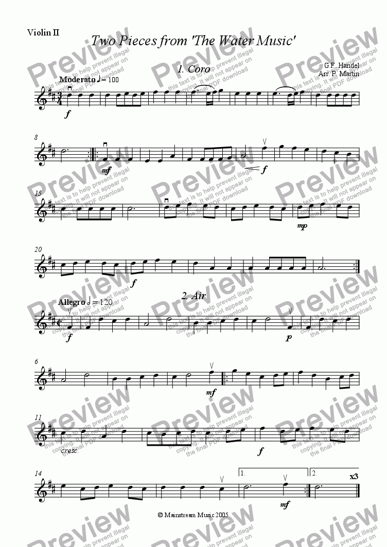 page one of the Violin 2 part from Two Pieces from the 'Water Music'