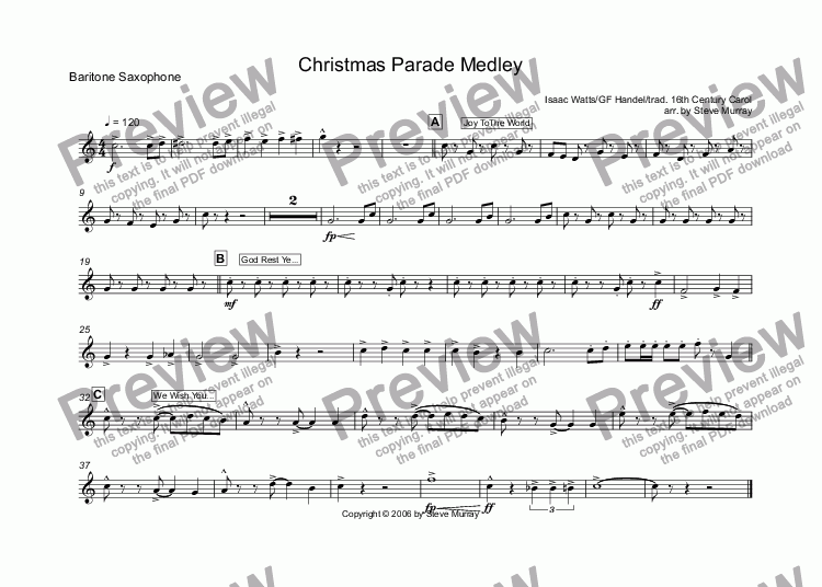 page one of the Baritone Saxophone part from Christmas Parade Medley