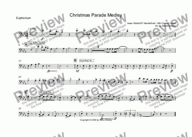 page one of the Euphonium part from Christmas Parade Medley