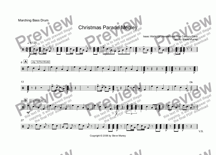 page one of the Marching Bass Drum part from Christmas Parade Medley