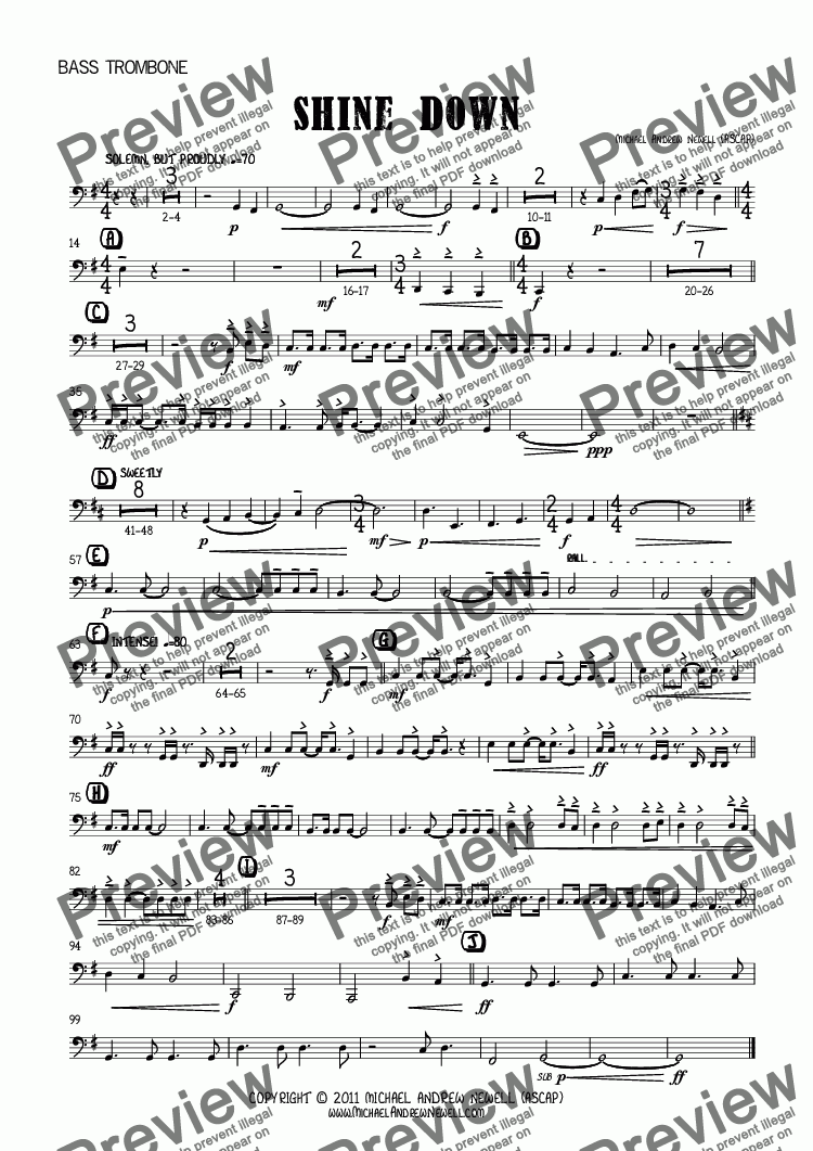 page one of the Bass Trombone part from Shine Down