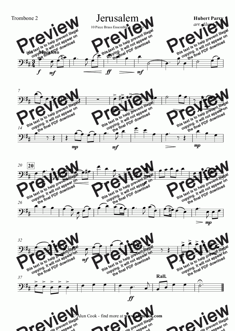 page one of the Trombone 2 part from Jerusalem (10 piece Brass Ensemble)