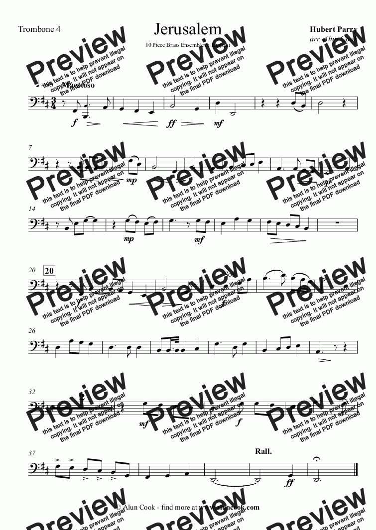 page one of the Trombone 4 part from Jerusalem (10 piece Brass Ensemble)