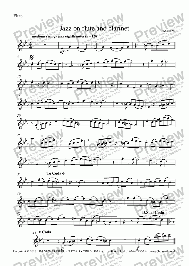 page one of the Flute part from Jazz on flute and clarinet