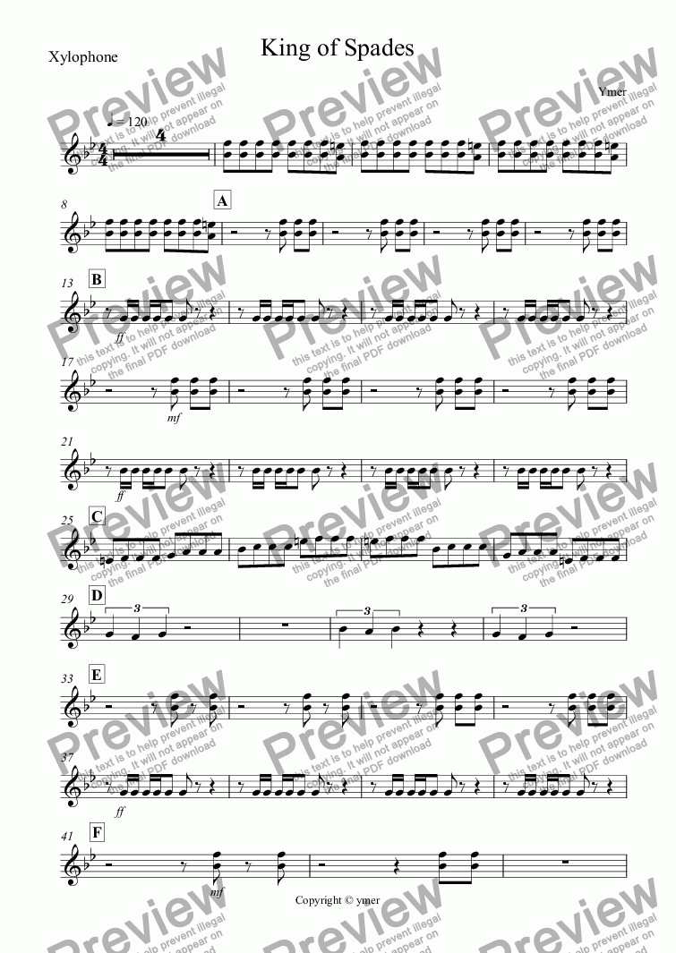 page one of the Xylophone part from King of Spades