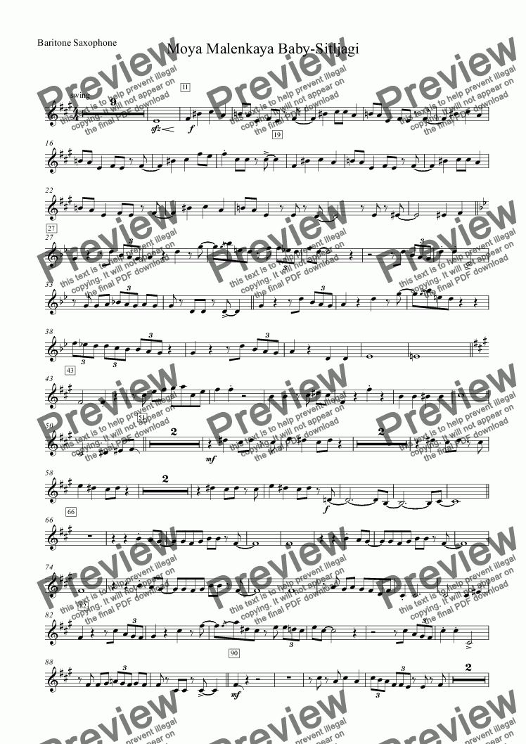 page one of the Baritone Saxophone part from Moya Malenkaya Baby-Sitljagi