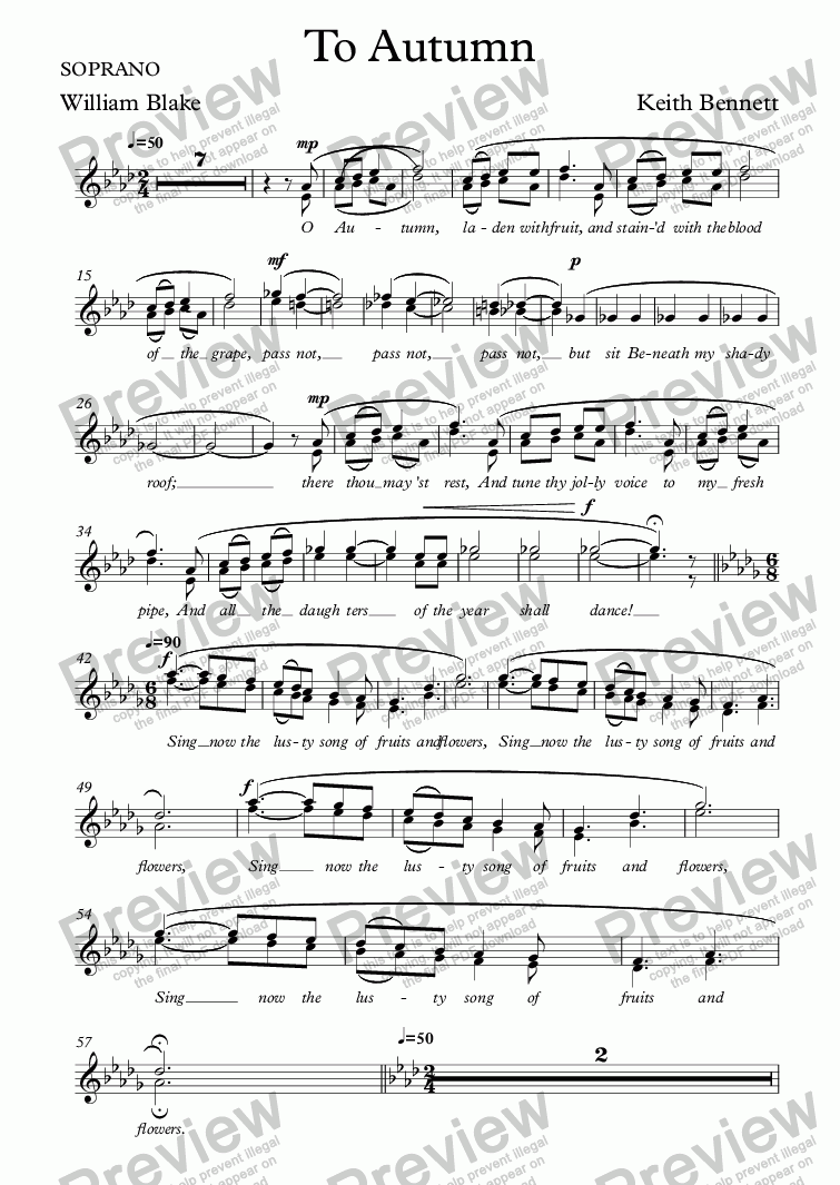 page one of the SOPRANO part from To Autumn