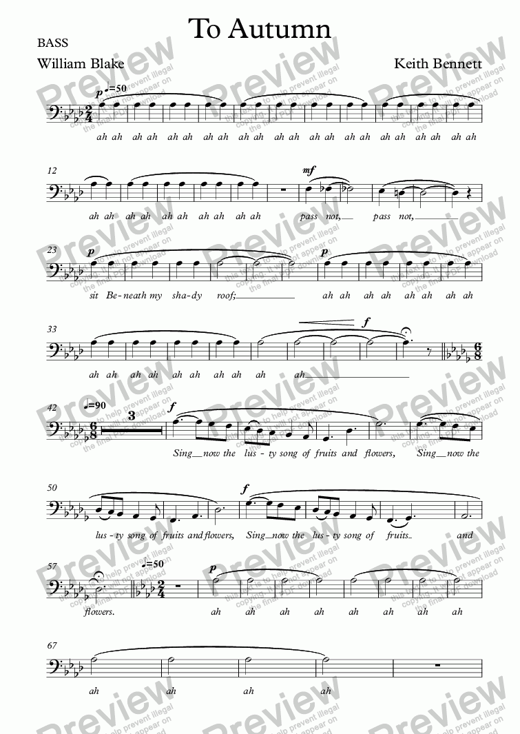 page one of the BASS part from To Autumn