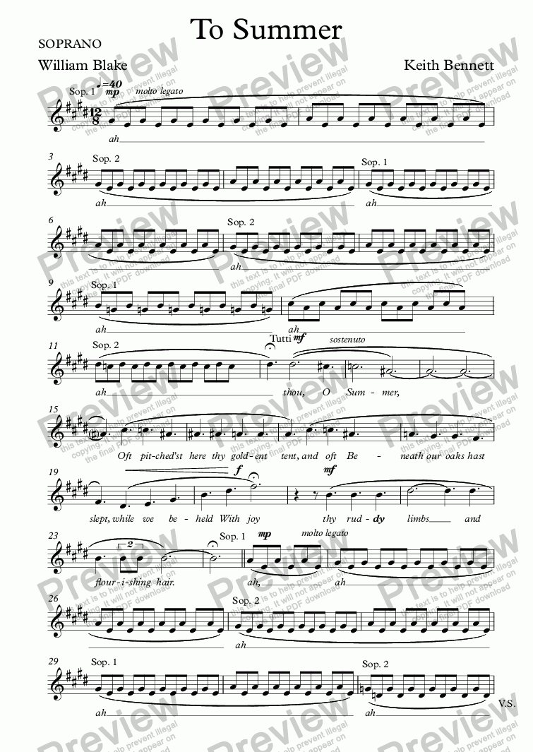 page one of the SOPRANO part from To Summer