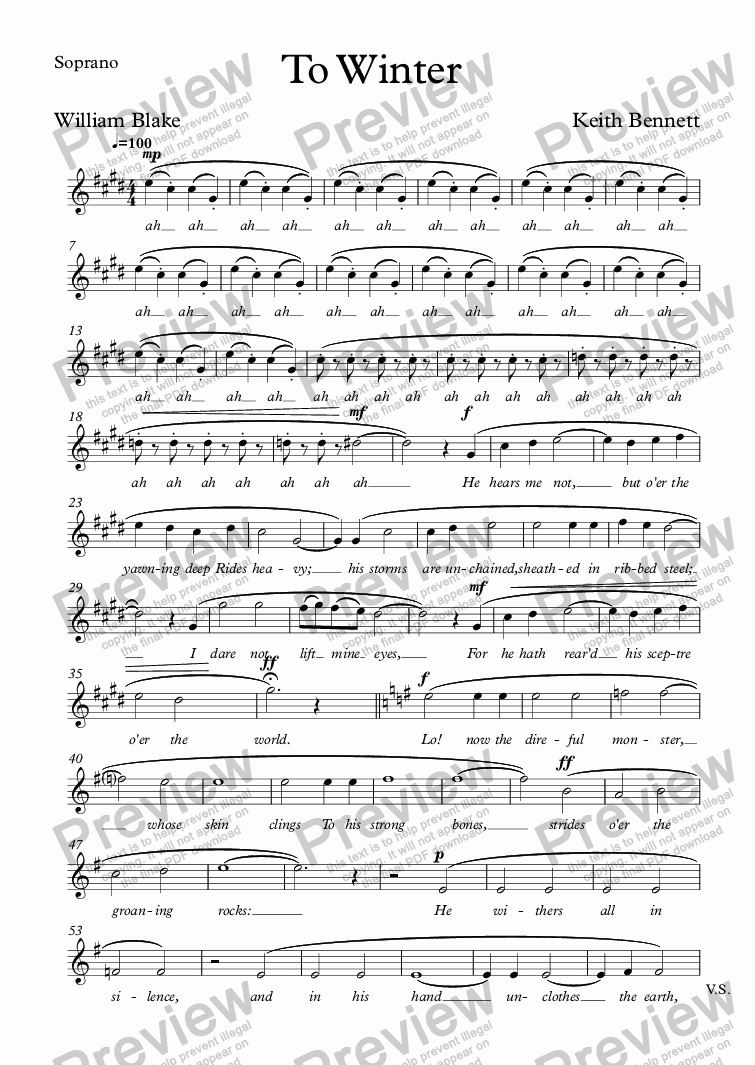 page one of the Soprano part from To Winter