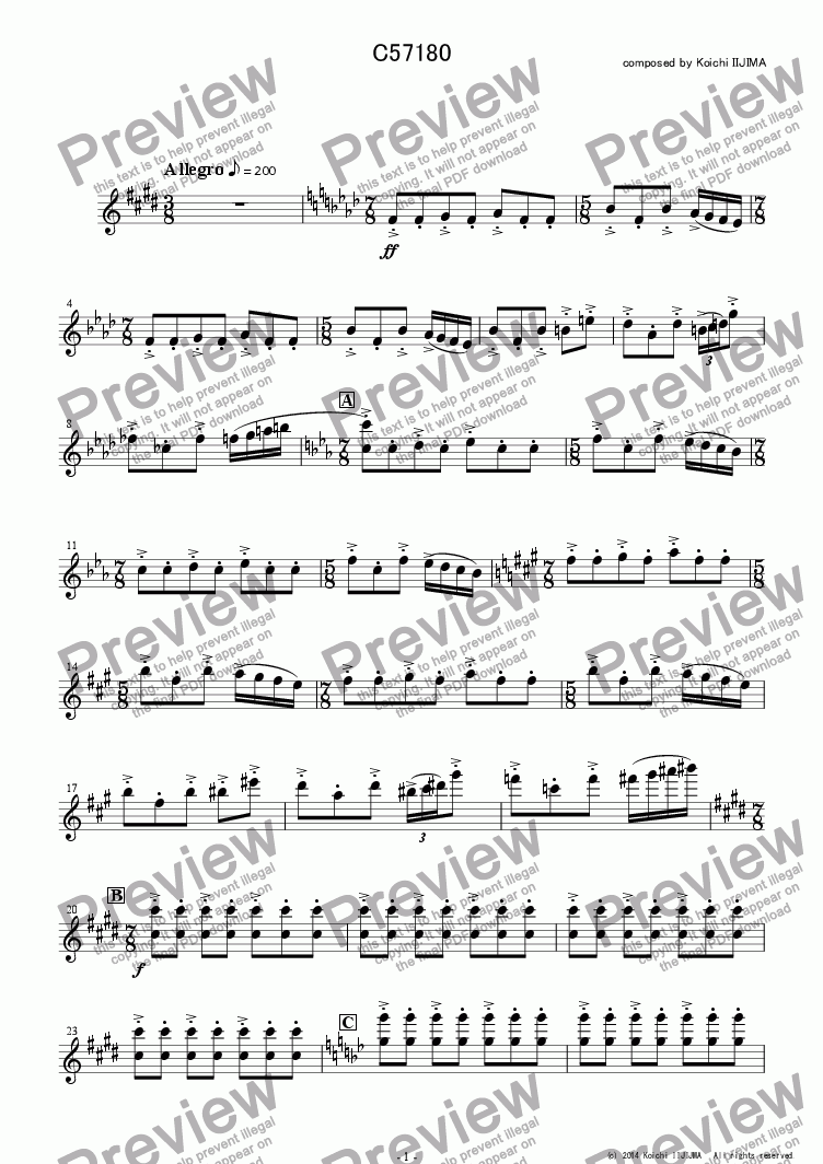 page one of the C57180 - Violin I part from C57180_fullscore