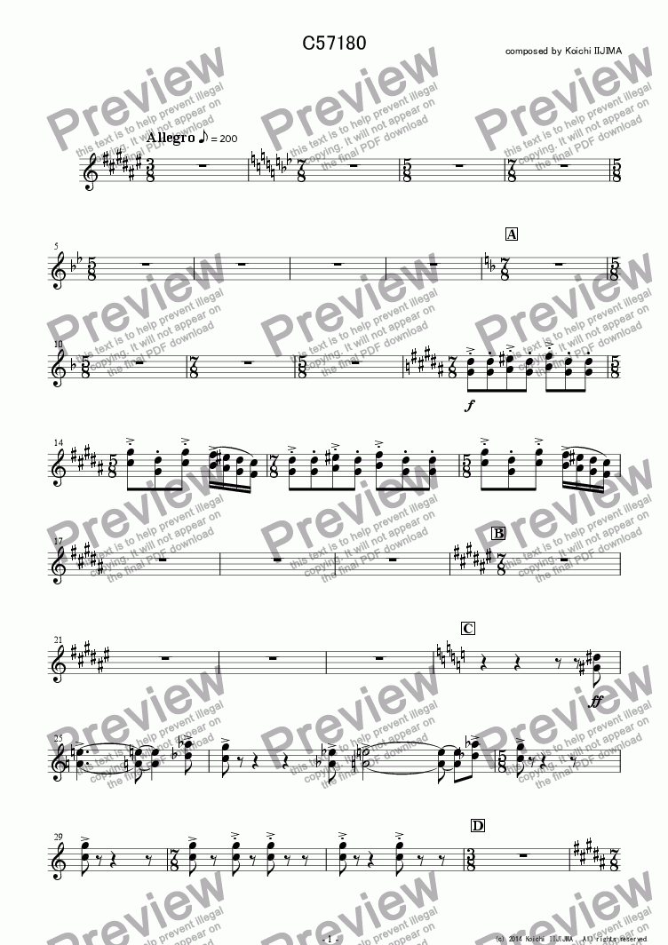 page one of the C57180 - trumpets part from C57180_fullscore