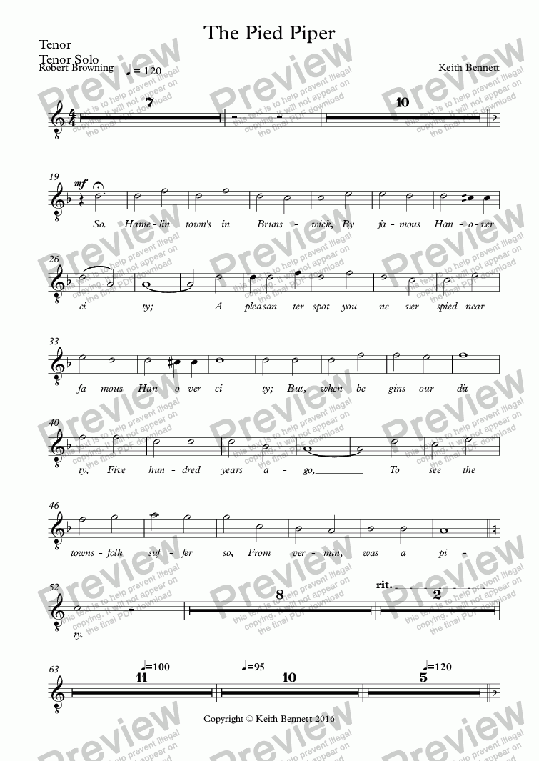 page one of the Tenor, Tenor Solo part from The Pied Piper