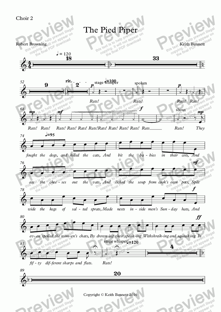 page one of the Choir 2 part from The Pied Piper