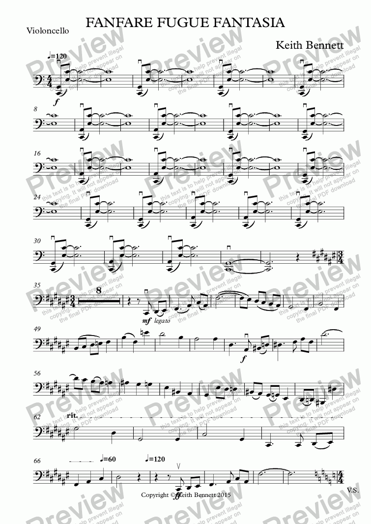 page one of the Violoncello part from Fanfare Fugue Fantasia