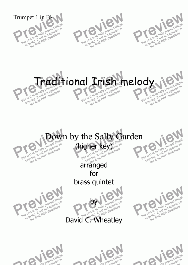 page one of the Trumpet 1 in Bb part from Down by the Sally Garden for brass quintet (higher key)