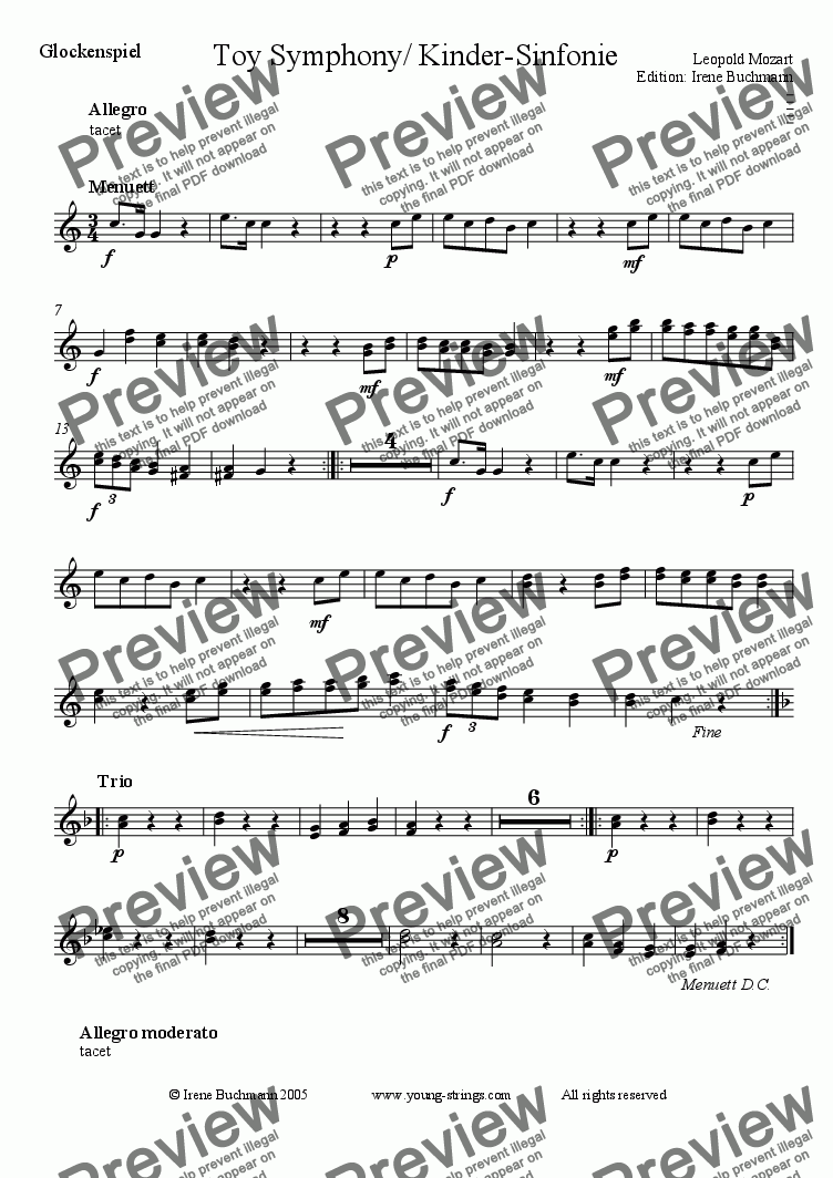 page one of the Glockenspiel part from Mozart, Toy Symphony for young string orchestra