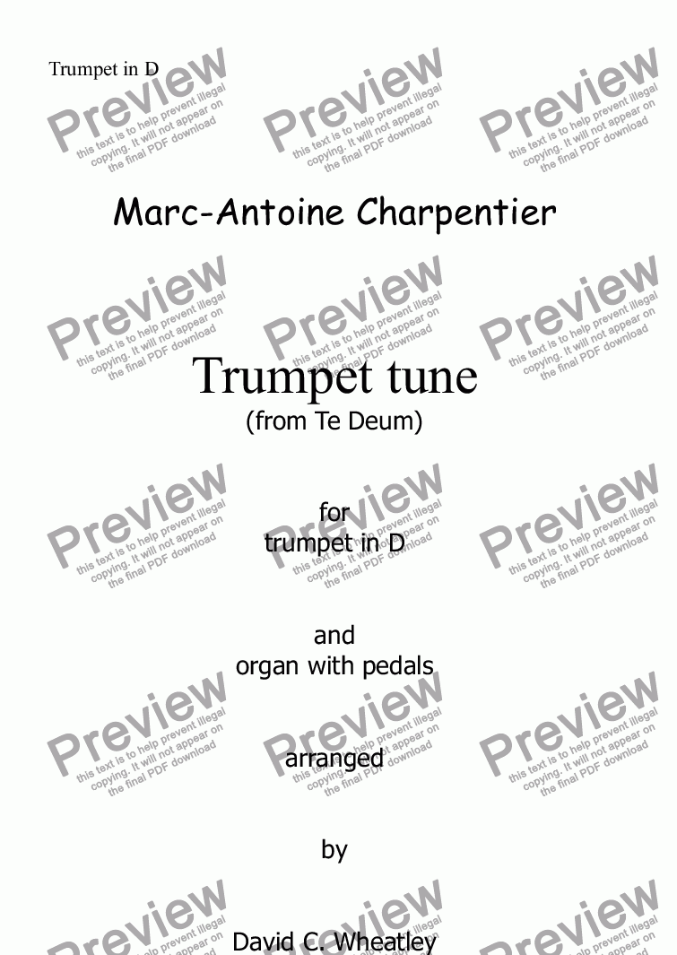 page one of the Trumpet in D part from Trumpet tune (Te Deum - Charpentier) for trumpet in D and organ