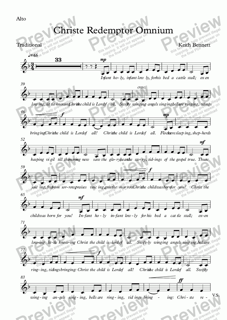 page one of the Alto part from Christe Redemptor Omnium
