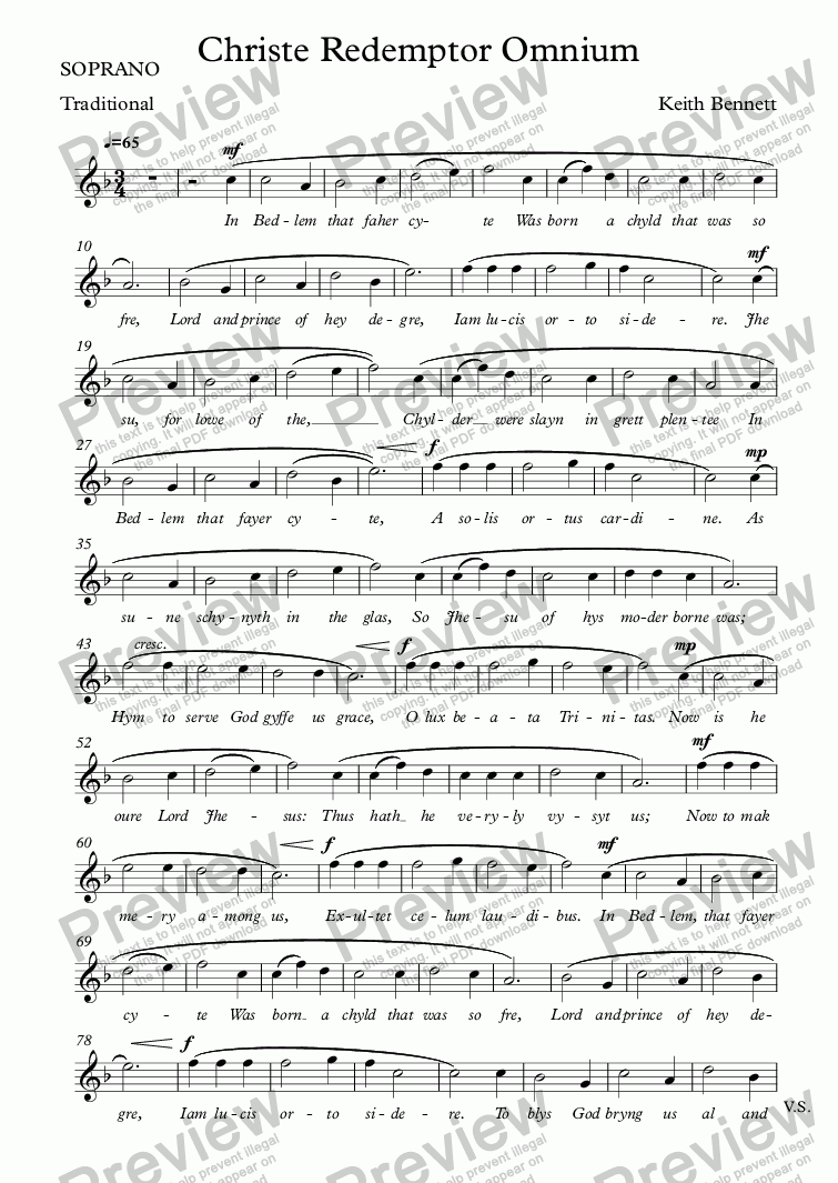 page one of the SOPRANO part from Christe Redemptor Omnium