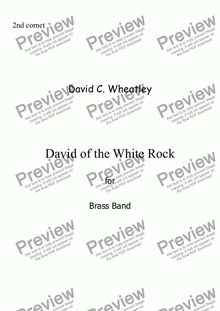page one of the 2nd Cornet Bb part from David of the White Rock by David Wheatley for Brass band