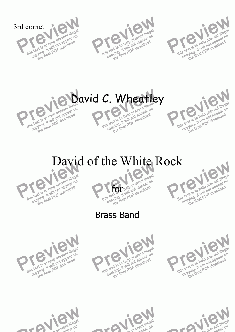 page one of the 3rd Cornet Bb part from David of the White Rock by David Wheatley for Brass band