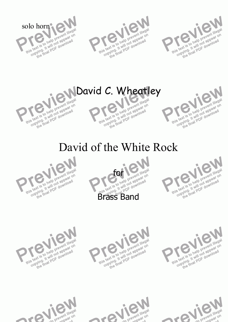 page one of the Solo Horn Eb part from David of the White Rock by David Wheatley for Brass band