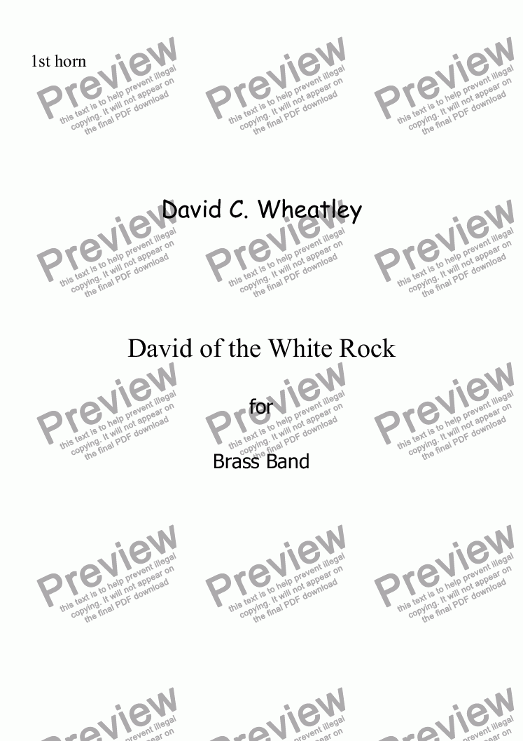 page one of the 1st Horn Eb part from David of the White Rock by David Wheatley for Brass band