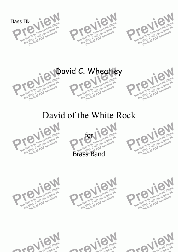 page one of the Bass Bb (treble clef) part from David of the White Rock by David Wheatley for Brass band