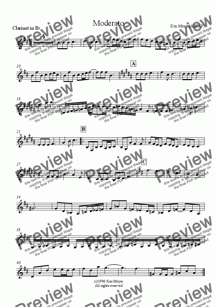 page one of the Clarinet part from Moderato