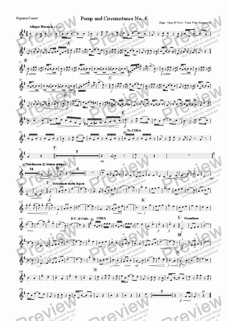 page one of the Repiano Cornet part from Pomp and Circumstance March No.4