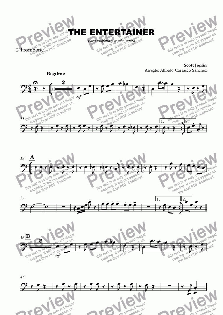 page one of the 2 Trombone part from THE ENTERTAINER