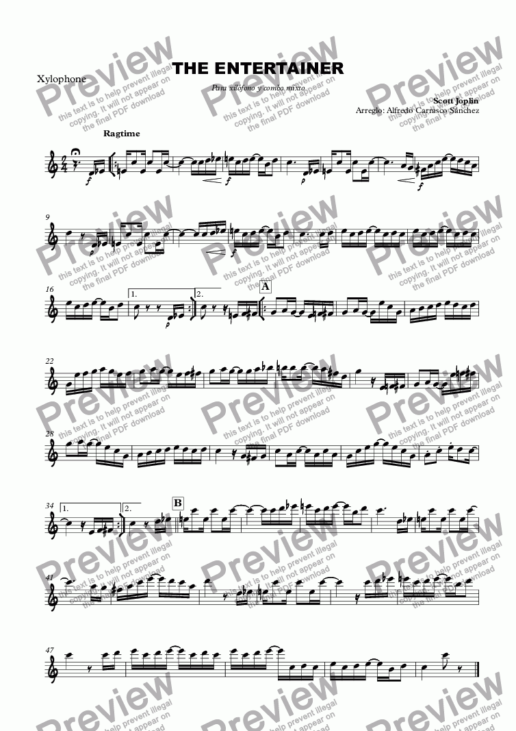 page one of the Xylophone part from THE ENTERTAINER