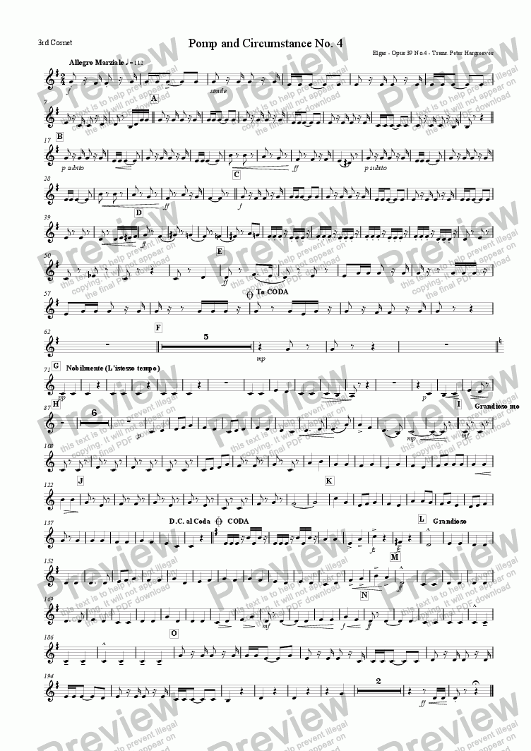 page one of the 3rd Cornet part from Pomp and Circumstance March No.4
