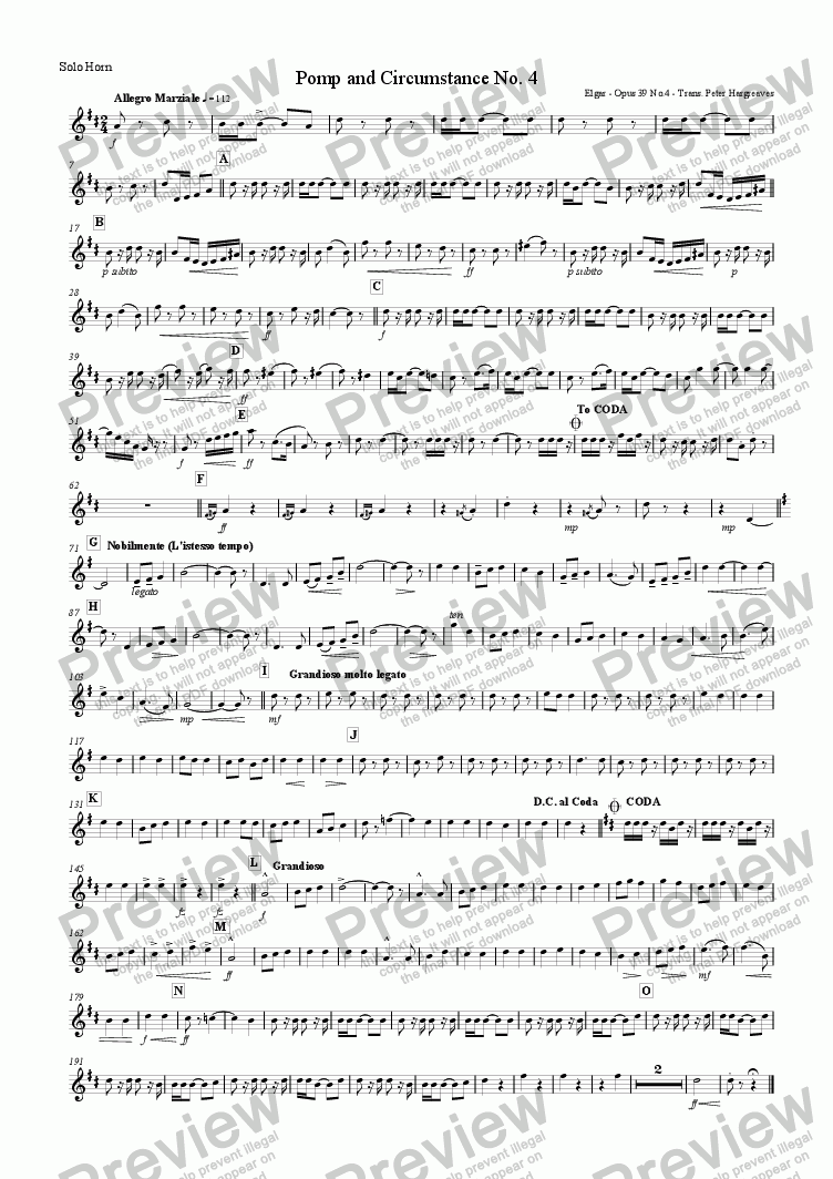 page one of the Solo Horn part from Pomp and Circumstance March No.4