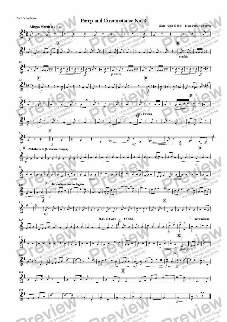 page one of the 2nd Trombone part from Pomp and Circumstance March No.4