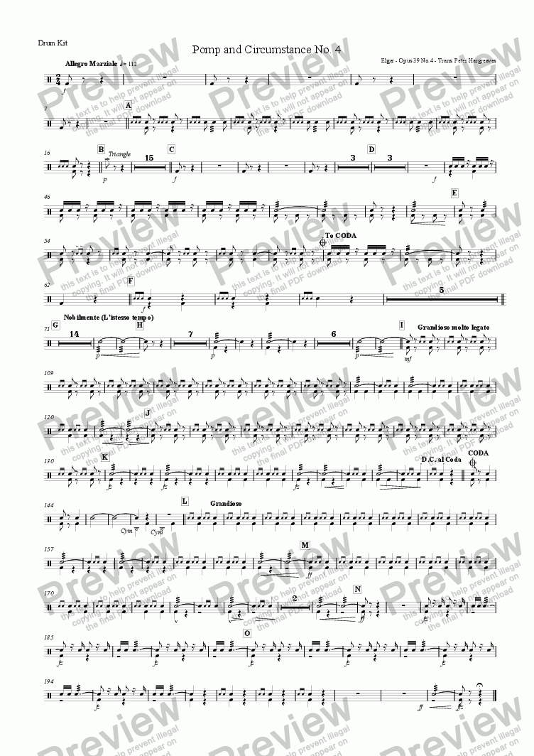 page one of the Drum Kit part from Pomp and Circumstance March No.4