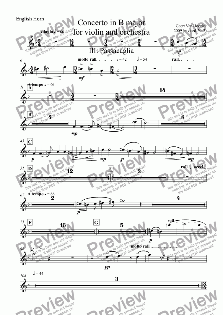 page one of the English Horn part from Concerto in B major for violin and orchestra, Op. 36 - III. Passacaglia
