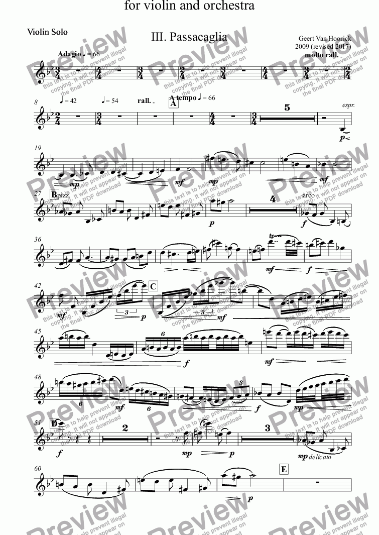page one of the Violin Solo part from Concerto in B major for violin and orchestra, Op. 36 - III. Passacaglia
