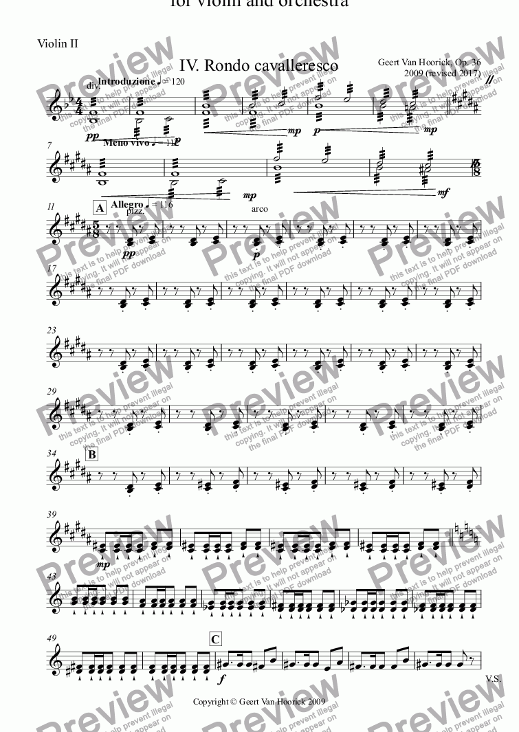 page one of the Violin II part from Concerto in B major for violin and orchestra, Op. 36 - IV. Rondo cavalleresco
