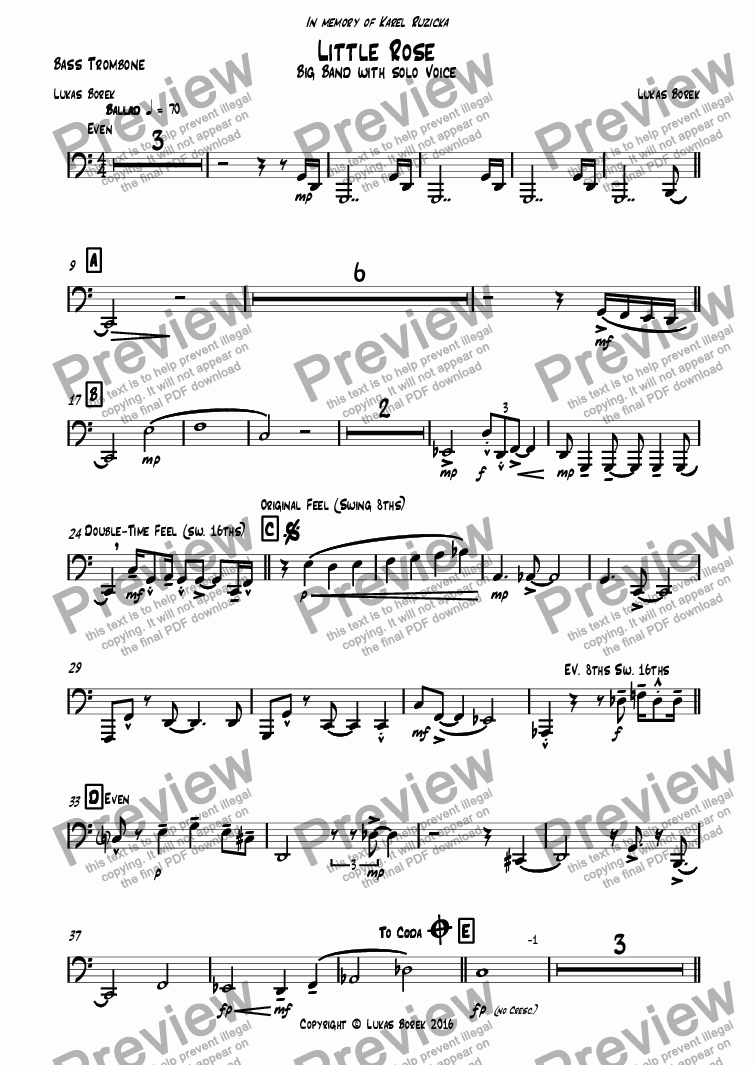 page one of the Bass Trombone part from Little Rose
