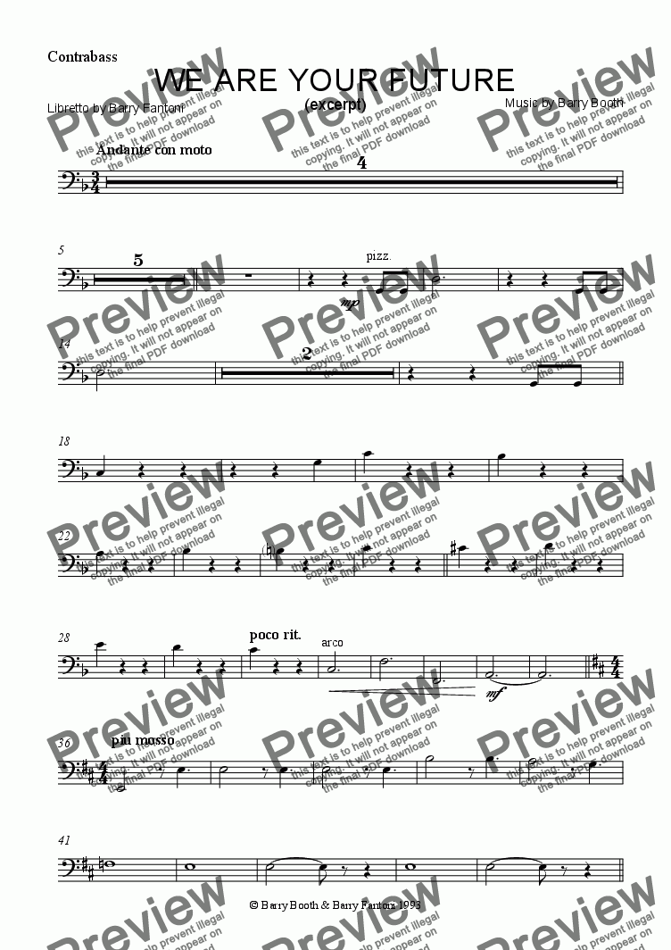 page one of the Contrabass part from We Are Your Future