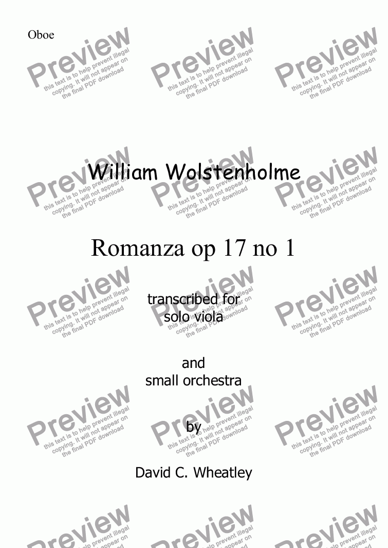 page one of the Oboe part from Wolstenholme - Romanza op 17 no 1 for solo viola and small orchestra
